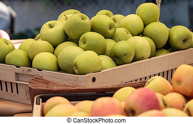 Bushel of green and red apples