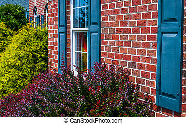 Bushes and front of brick house with blue shutters