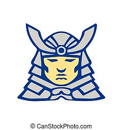 Bushido Samurai Head Armor Helmet Retro - Illustration of a...