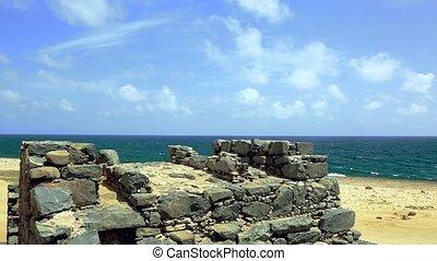 Bushiribana Gold Smelter ruins. North coast, Aruba Island,...
