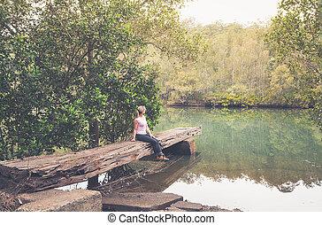 bushland, hewn, landungsbrücke, rustic, groß, australische, ...