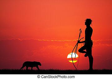 illustration of bushman at sunset