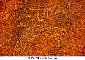 Bushman prehistoric rock engravings at the UNESCO World Heritage Center in Twyfelfontein, Namibia.