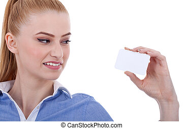 busineewoman, com, a, cartão negócio