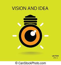 busines, シンボル, アイコン, 考え, ビジョン, 印, 電球, 目, ロゴ