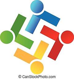 busines, ロゴ, ベクトル, チームワーク, 人々