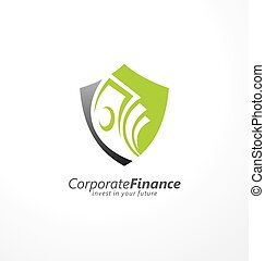 Logo design concept for safe investments with shield shape and money bills in negative space