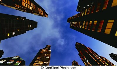 Business District at Night - Busines Business District at...