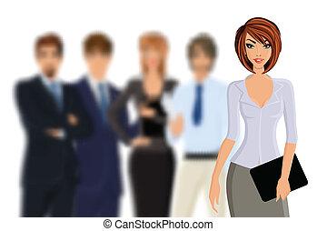 busines, corporación mercantil de mujer, equipo