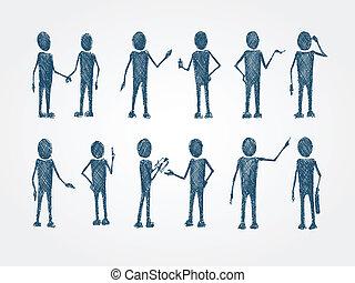 busines, garabato, colaboración, conjunto, gente