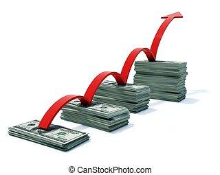 busines, gráfico, flecha, dinero