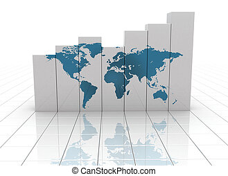 Busines graph world map - World map printed on white...
