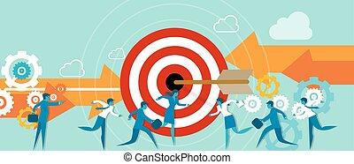 busines metaphor taget team work direction