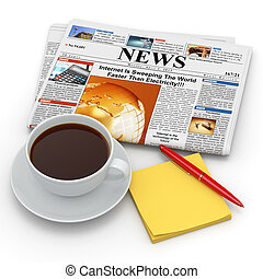 Busines morning concept. Coffee cup, newspaper and reminder....