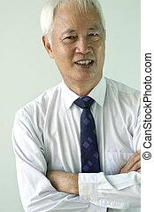 busines, senior, aziatische man