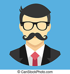 busines, vector, mustache, man
