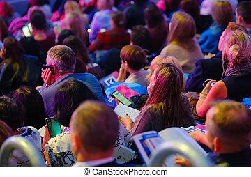 business, écouter, attendees, asseoir, conférence