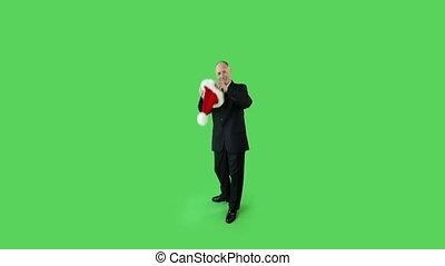 business, écran, claus, vert, santa, personne agee, caucasien, homme