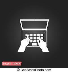 business, écran, clavier, ordinateur cahier, mains, ouvert