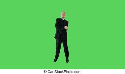 business, écran, confiant, vert, personne agee, caucasien, homme
