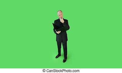 business, écran, inquiété, relieur, vert, personne agee, caucasien, homme