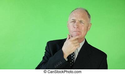 business, écran, inquiété, vert, personne agee, caucasien, homme