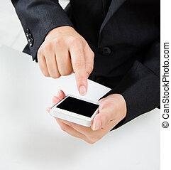 business, écran, main, toucher, foule, prise