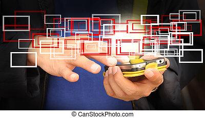 business, écran, o, main, toucher, homme