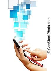 business, écran, pousser, isolé, main, téléphone, fond,...