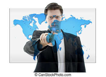 business, écran, pousser, map., isolé, toucher, white., interface, mondiale, homme