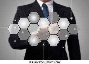 business, écran, pousser, toucher, interface, homme