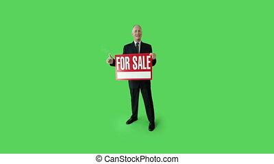 business, écran, signe vente, confiant, vert, personne agee, caucasien, homme