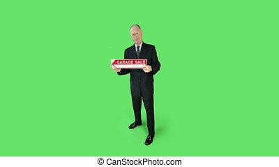 business, écran, vente, inquiété, garage, vert, personne agee, signe, caucasien, homme