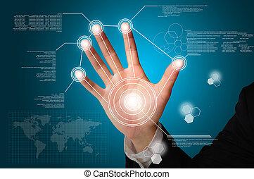 business, écran, virtuel, main, numérique, toucher, homme