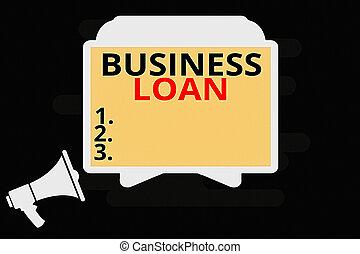 business, écriture, assistance, horizontalement, vide, porte voix, signification, loan., tablette, stand, holder., concept, avances, dette, texte, reposer, crédit, financier, hypothèque, espèces, écran