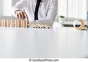 business, écroulant, dominos, directeur, arrêt, crise