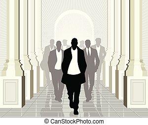 business, éditorial, devant, équipe