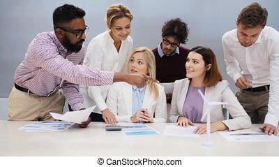 business, énergie, projet, vert, équipe, discuter