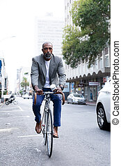 business, équitation, américain, vélo, homme africain, rue