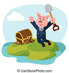 business, île, trésor, cochon, trouvé, caché