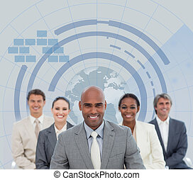 business četa, s, koule, illustrati