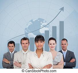 business četa, usmívaní, s, jeden, koule, ilustrace