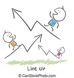 。, business., イラスト, 成長, 概念, 線