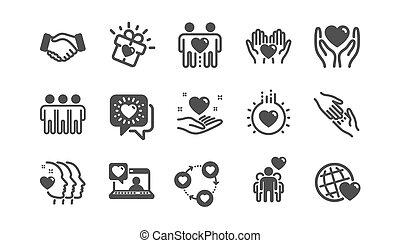 business., クラシック, 相互, icons., 援助, ベクトル, 理解, 相互作用, 友情, set., 愛