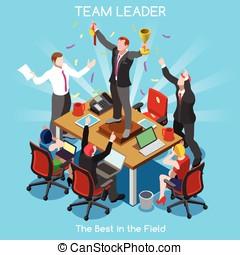 Business 08 People Isometric - Startup Teamwork Team Leader...