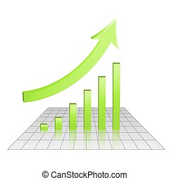 Business 3d chart of growth, goal achievement concept, rise arrow and bars, green color, vector, eps 10