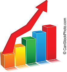 Business 3D graph with arrow