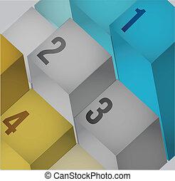 business 3d info graphics cubes
