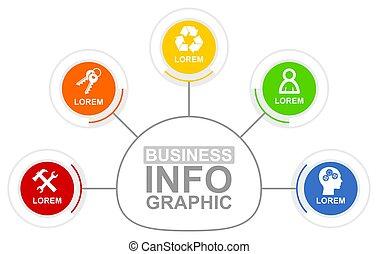 business, 5, présentation, flot travail, concept, diagramme, vecteur, gabarit, options, infographic