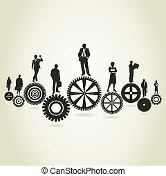 Business a gear wheel - Businessmen stand on gear wheels. A...